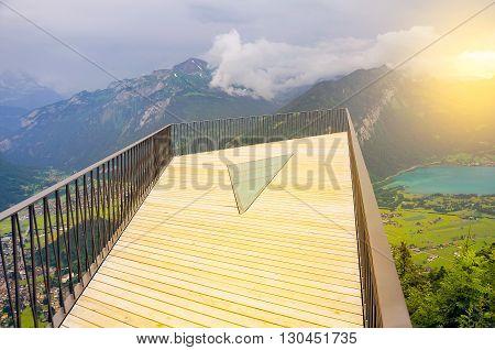 Viewpoint above Interlaken at sunset time. Switzerland.