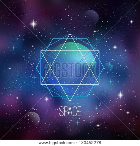 Space background with sacred geometry, stars and planet. Eps 10