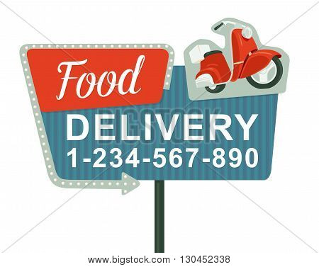 Retro night sign with an arrow. Billboard in retro style with lights.  Delivery pizza on red moped. Isolated vector flat illustration on white background. For banner, poster, presentation.