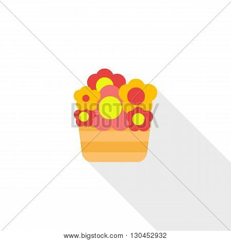Basket with flowers icon in flat style with long shadow. Summer and flora symbol
