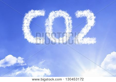 CO2 cloud word with a blue sky