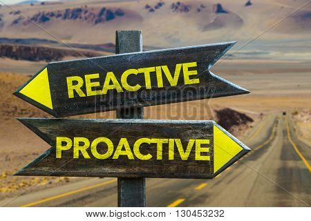 Reactive - Proactive crossroad in a desert background