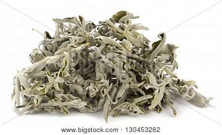 Heap of dried sage tea plant isolated on white background.