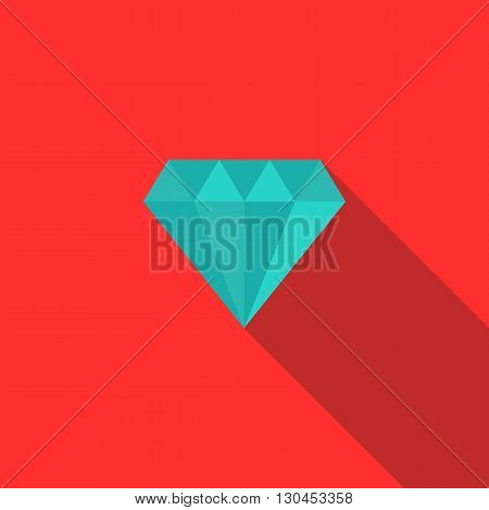Diamond icon in flat style with long shadow. Jewelry and precious stones symbol