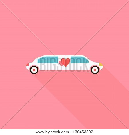 Wedding limousine icon in flat style with long shadow. Transportation and celebration symbol