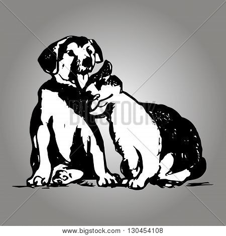 Graphic image of domestic animals. Puppy and cat friends abstract pattern on a gray background. Vector illustration