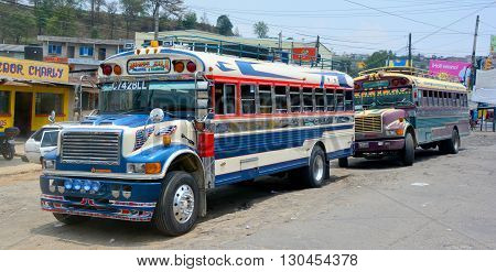 GUATEMALA CITY GUATEMALA APRIL 28 2016: Chicken buses, recycled and often colorfully painted former US school buses, are popular within cities and for short-distance trips.