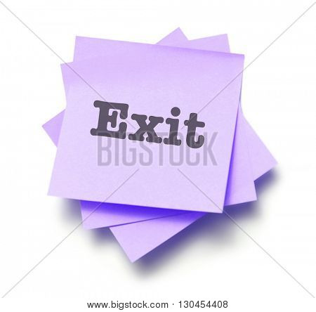 Exit written on a note