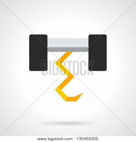 Farming equipment and tools. Plow element for agricultural technology. Tillage, rural work, equine and tractor tilling. Flat color design vector icon.