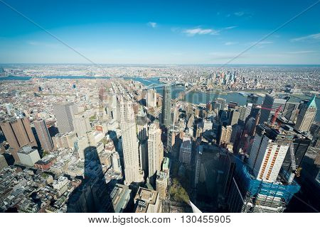 New York City downtown Manhattan view from the top