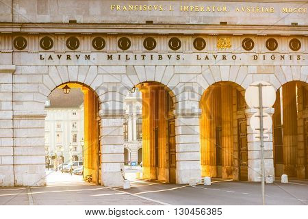 Heldentor gates on Hendel square in Vienna on the morning