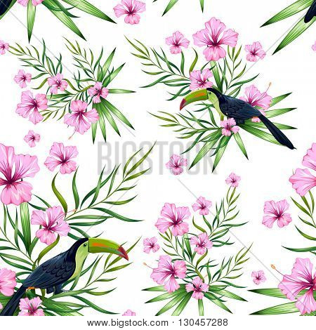 illustration of seamless pattern with exotic tropical flower and colorful toucan