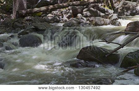 Creek and rocks below Bridalveil Fall in Yosemite Valley California