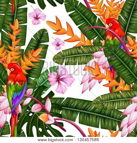 illustration of seamless pattern with exotic tropical flower and macau
