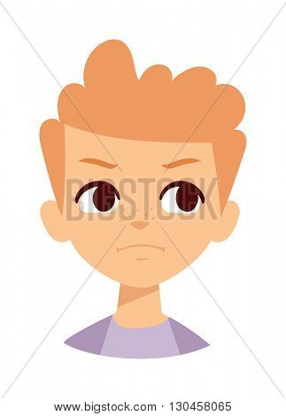 Angry boy vector illustration.