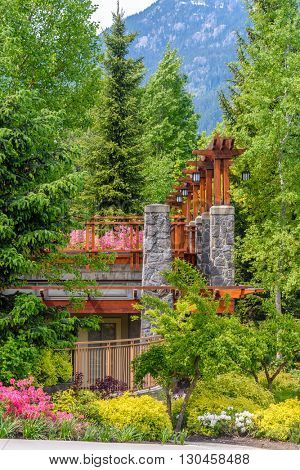 Outdoor landscape garden in Whistler, Vancouver, British Columbia, Canada.