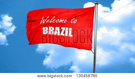 Welcome to brazil, 3D rendering, a red waving flag