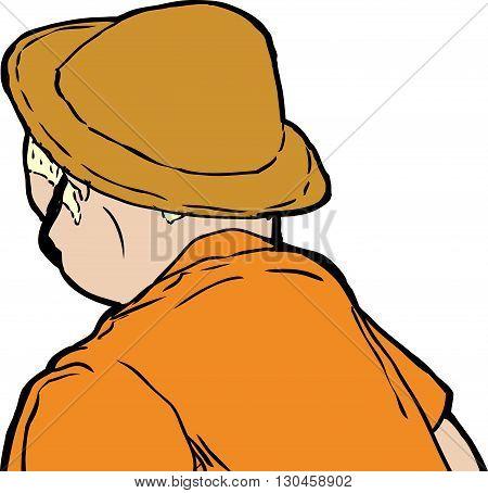 Man In Hat Looking Downward