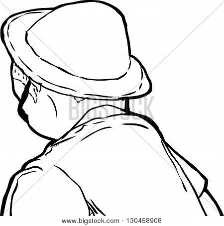 Outline Of Man In Hat Looking Away