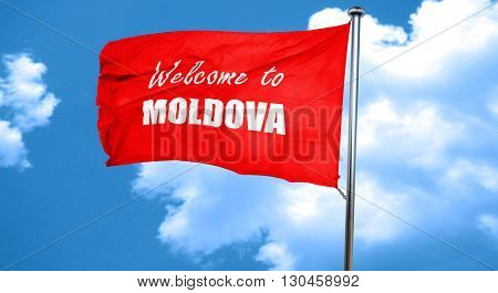 Welcome to moldova, 3D rendering, a red waving flag