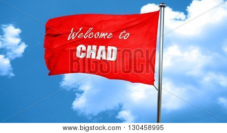 Welcome to chad, 3D rendering, a red waving flag
