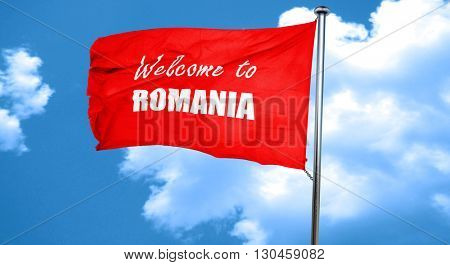 greetings from romania, 3D rendering, a red waving flag