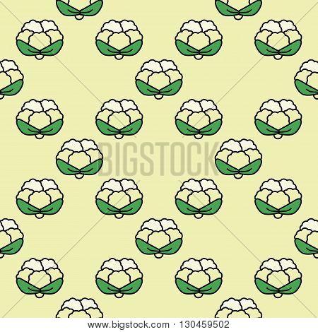 Seamless pattern cauliflower on a light yellow background.