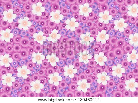 Vector solid bright background from a pattern of multicolored flowers of lilac.