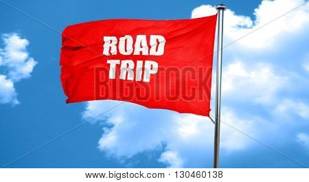 roadtrip, 3D rendering, a red waving flag