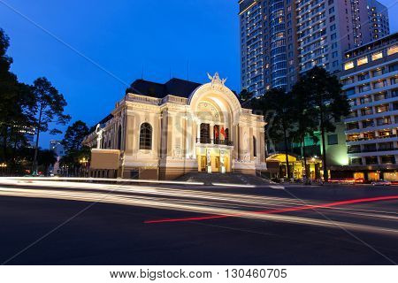 Municipal Theatre of Ho Chi Minh City also known as the Siagon Operahouse at night with traffic light trails. The operahouse was built in 1897 and is a fine example of French Colonial Architecture. Ho Chi Minh City - Vietnam