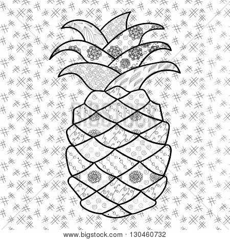 Pineapple adult coloring page. Zentangle Inspired whimsical line art vector illustration.