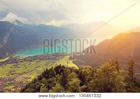 View of Thunersee from Harder Kulm at sunset time. Switzerland.