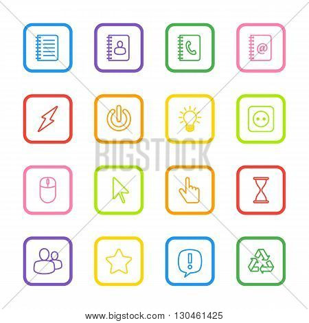 colorful line web icon set for with rounded rectangle frame web design user interface (UI) infographic and mobile application (apps)