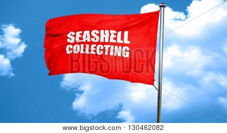 seashell collecting, 3D rendering, a red waving flag
