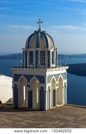 Bell towers in town of Firostefani, Santorini island, Thira, Cyclades, Greece