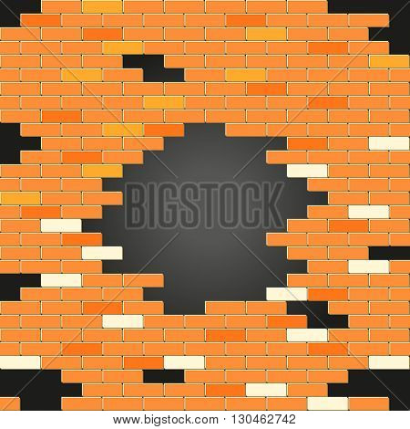 Red brick wall with a holes