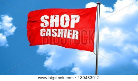 shop cashier, 3D rendering, a red waving flag