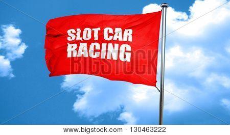 slot car racing, 3D rendering, a red waving flag
