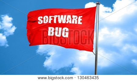 Software bug background, 3D rendering, a red waving flag