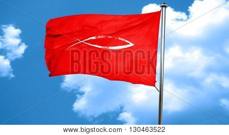 Christian fish symbol, 3D rendering, a red waving flag