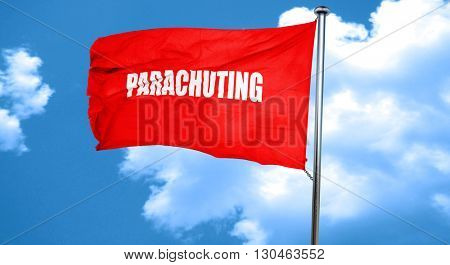 parachuting sign background, 3D rendering, a red waving flag