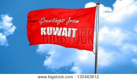 Greetings from kuwait, 3D rendering, a red waving flag