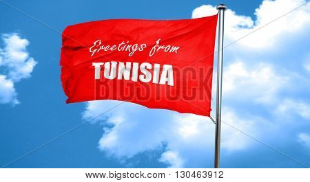 Greetings from tunisia, 3D rendering, a red waving flag