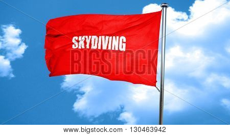 skydiving sign background, 3D rendering, a red waving flag