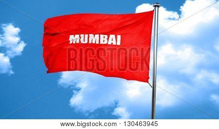 mumbai, 3D rendering, a red waving flag