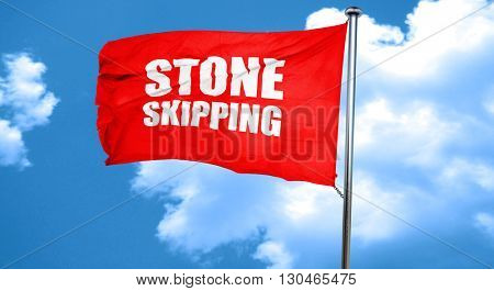 stone skipping, 3D rendering, a red waving flag