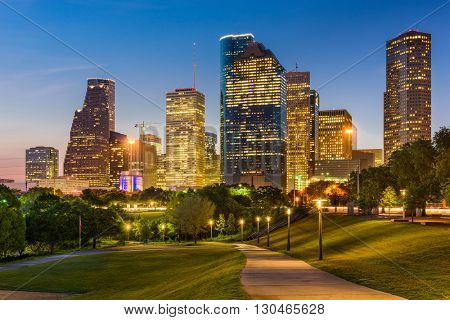 Houston, Texas, USA park and downtown skyline.