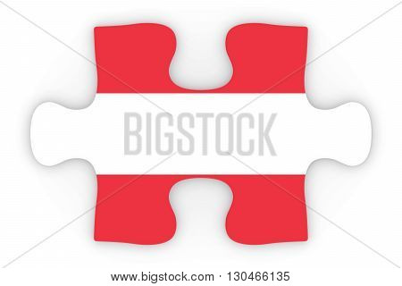 Austria Flag Puzzle Piece Top Down Orthographic 3D Illustration