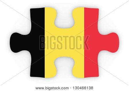 Belgian Flag Puzzle Piece Top Down Orthographic 3D Illustration