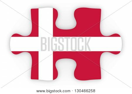 Danish Flag Puzzle Piece Top Down Orthographic 3D Illustration